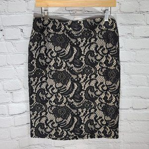 LOFT cream skirt with black laced detail